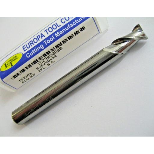 6mm CARBIDE ALI SLOT DRILL END MILL HIGH HELIX 2 FLUTE EUROPA TOOL 1523030600