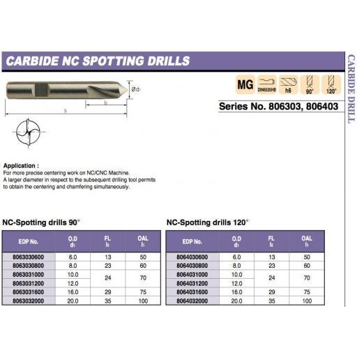 8mm SOLID CARBIDE NC SPOT / SPOTTING DRILL 120 DEGREE EUROPA TOOL 8064030800