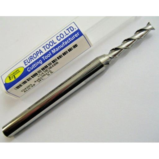 20mm CARBIDE ALI SLOT END MILL LONG SERIES HIGH HELIX 2 FLUTED EUROPA TOOL 1543032000