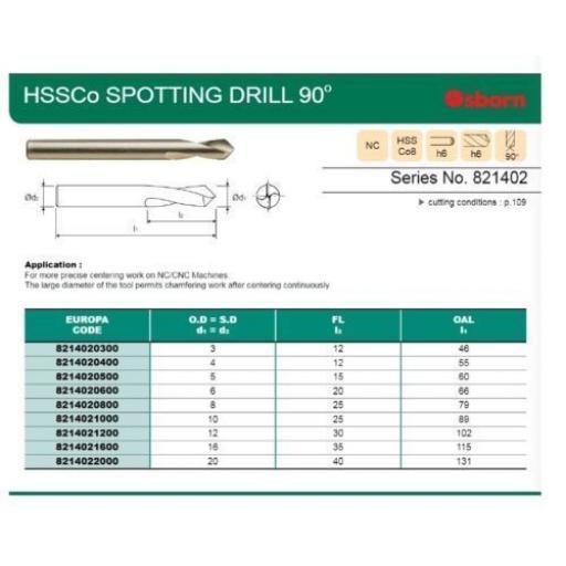 8mm HSSCo8 90 DEGREE NC SPOT SPOTTING DRILL EUROPA TOOL / OSBORN 8214020800