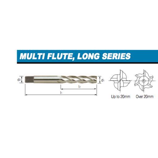 22mm LONG SERIES END MILL HSS M2 EUROPA TOOL CLARKSON 3082012200