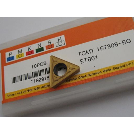 TCMT16T308-BG ET801 TCMT SOLID CARBIDE TURNING INSERTS EUROPA TOOL #S